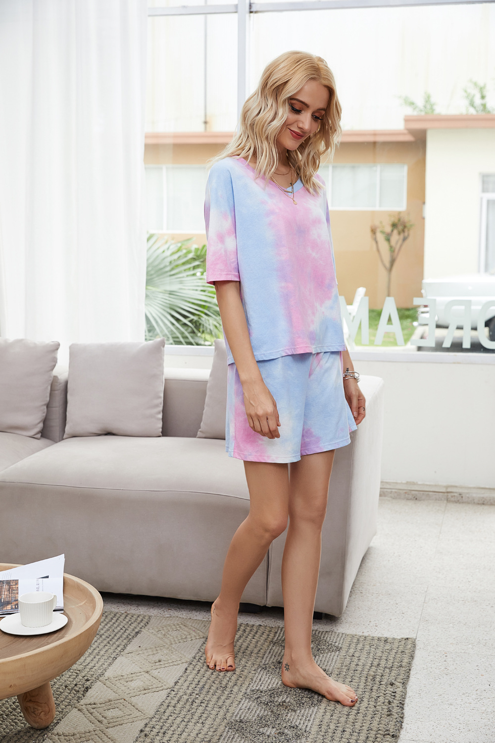 two-piece tie-dye powder two-piece women's short-sleeved T-shirt home casual wear NSDF1297
