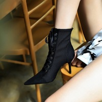 The 8788-8 European and American wind sexy nightclub show thin fine with high heels suede tip cross strap fashion with short boots