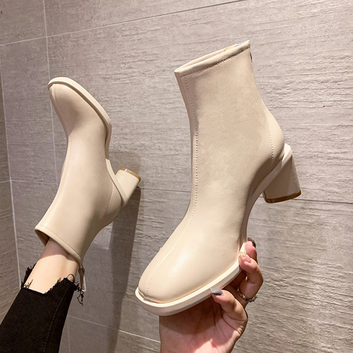 7111-2 women are thick with Chelsea short boots round head high with Martin boots female British wind joker zipper boots