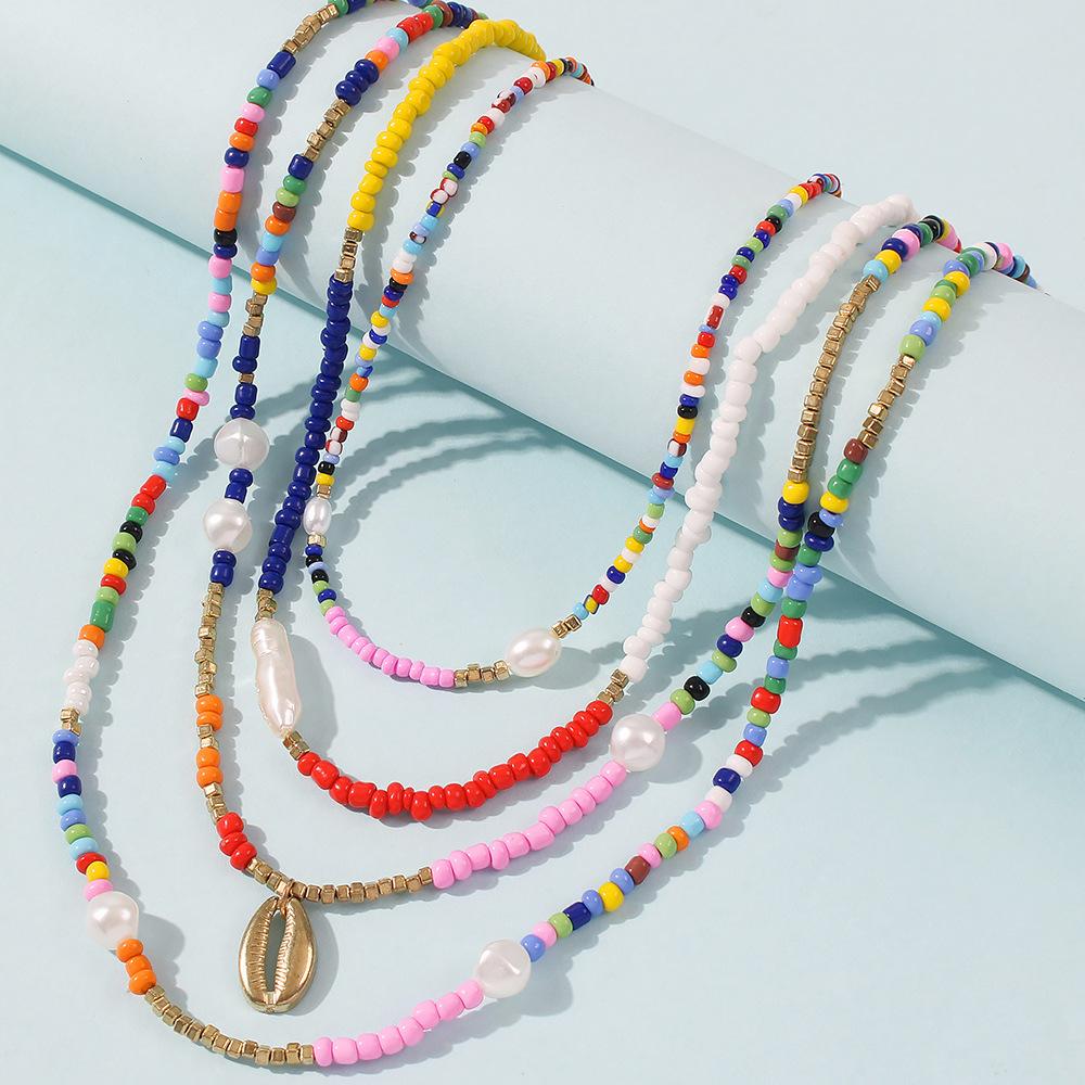 bohemian  rice bead  fashion ethnic style imitation pearl  alloy necklace  NHMD250785