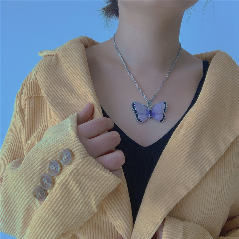 hand-made trendy warm jelly color high-quality local cool color butterfly double-chain bead chain chain necklace wholesale nihaojewelry NHYQ220153