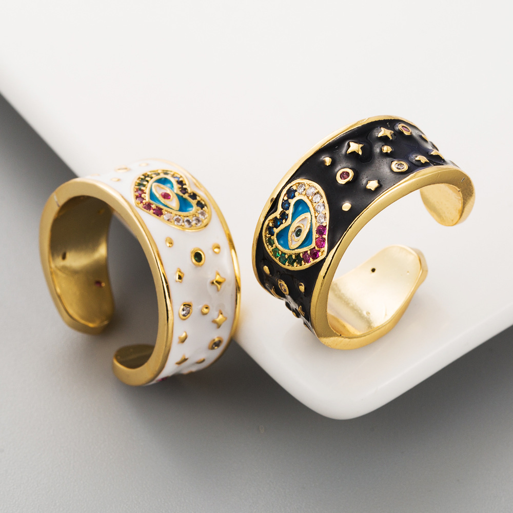 New ring accessories copper micro inlaid zircon ring 18K gold plated ring NHLN203499
