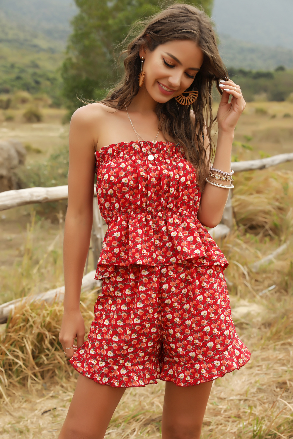 summer women's two-piece floral print shorts wholesale NSDF425