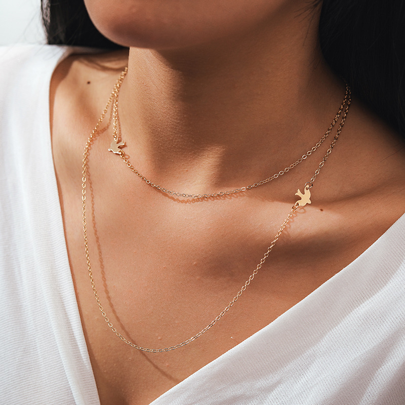 new double-layer chain peace dove necklace ladies short paragraph bird clavicle necklace wholesale nihaojewelry NHGY229346