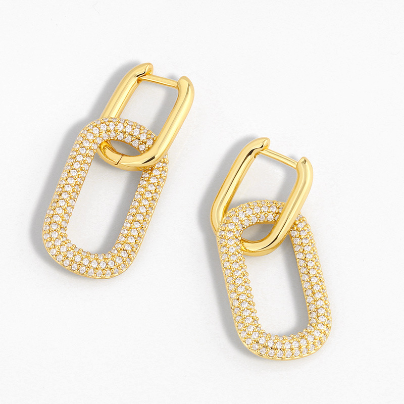 Fashion Golden Geometric Double Ring Lock Earrings With Diamonds
