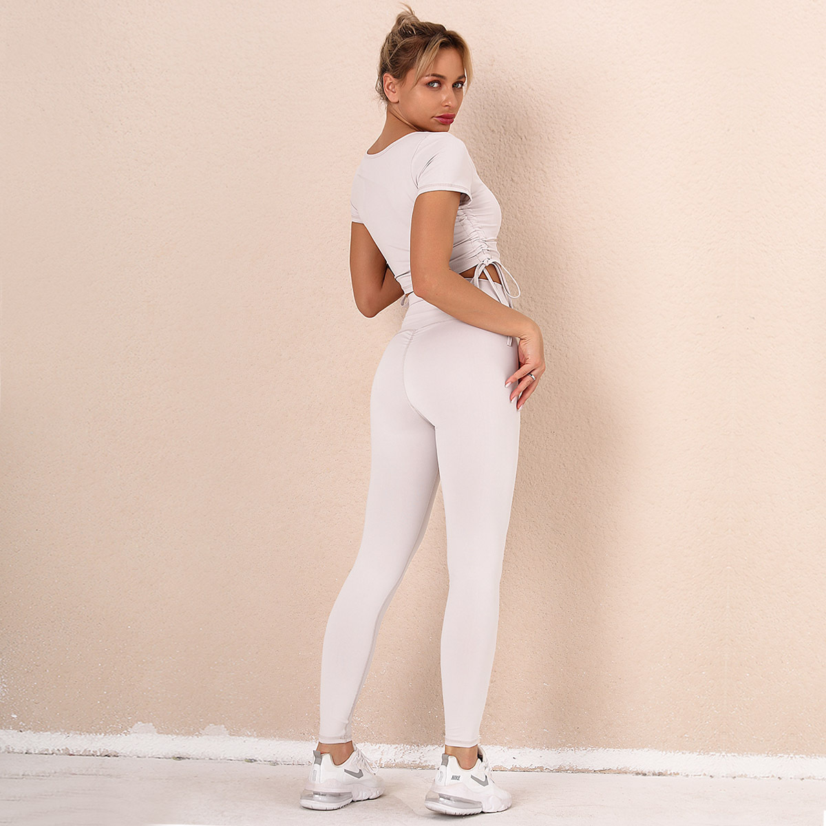 solid color stitching bow sling yoga suit  NSNS14719