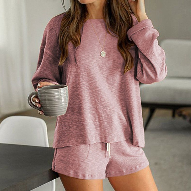 new casual pajamas suit women hot style round neck solid color home service NSKX6240