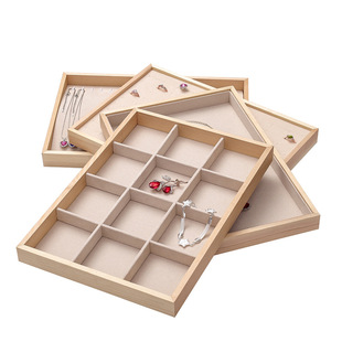 Wooden Ring Earrings Necklace Jewelry Display Tray Jewelry Box Jewelry Jewelry Storage Box Jewelry Display Rack