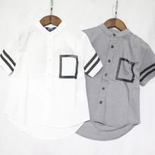 新款夏季男童襯衫 牛津英倫風中大童全棉襯衣 一手貨源