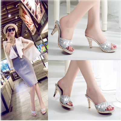 High heel sandals women thin heel fish mouth water Diamond sandals