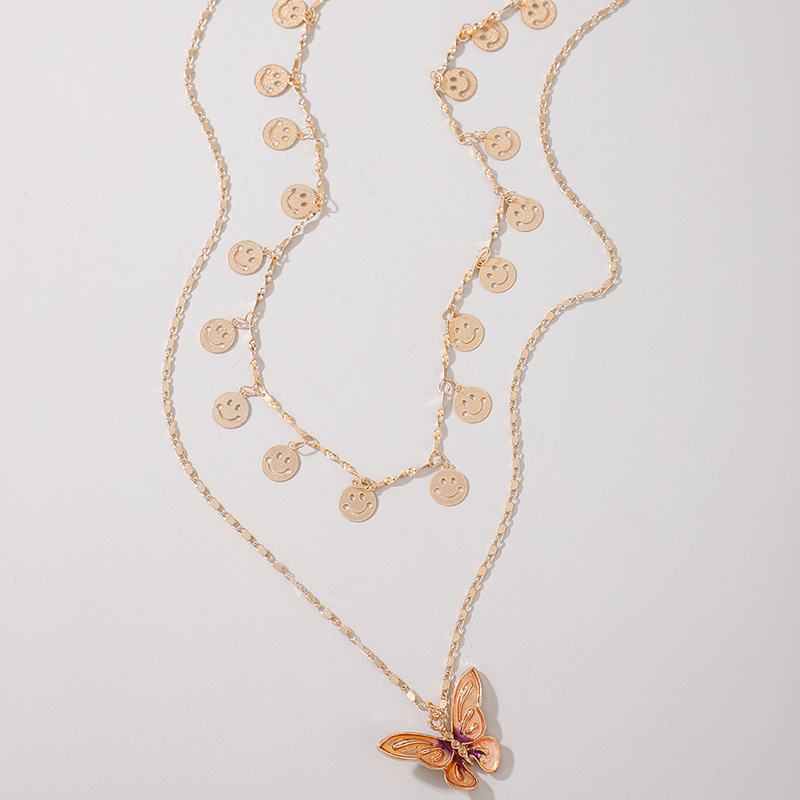 Fashion multi-layer wild disc butterfly alloy necklace clavicle chain NHGY255370