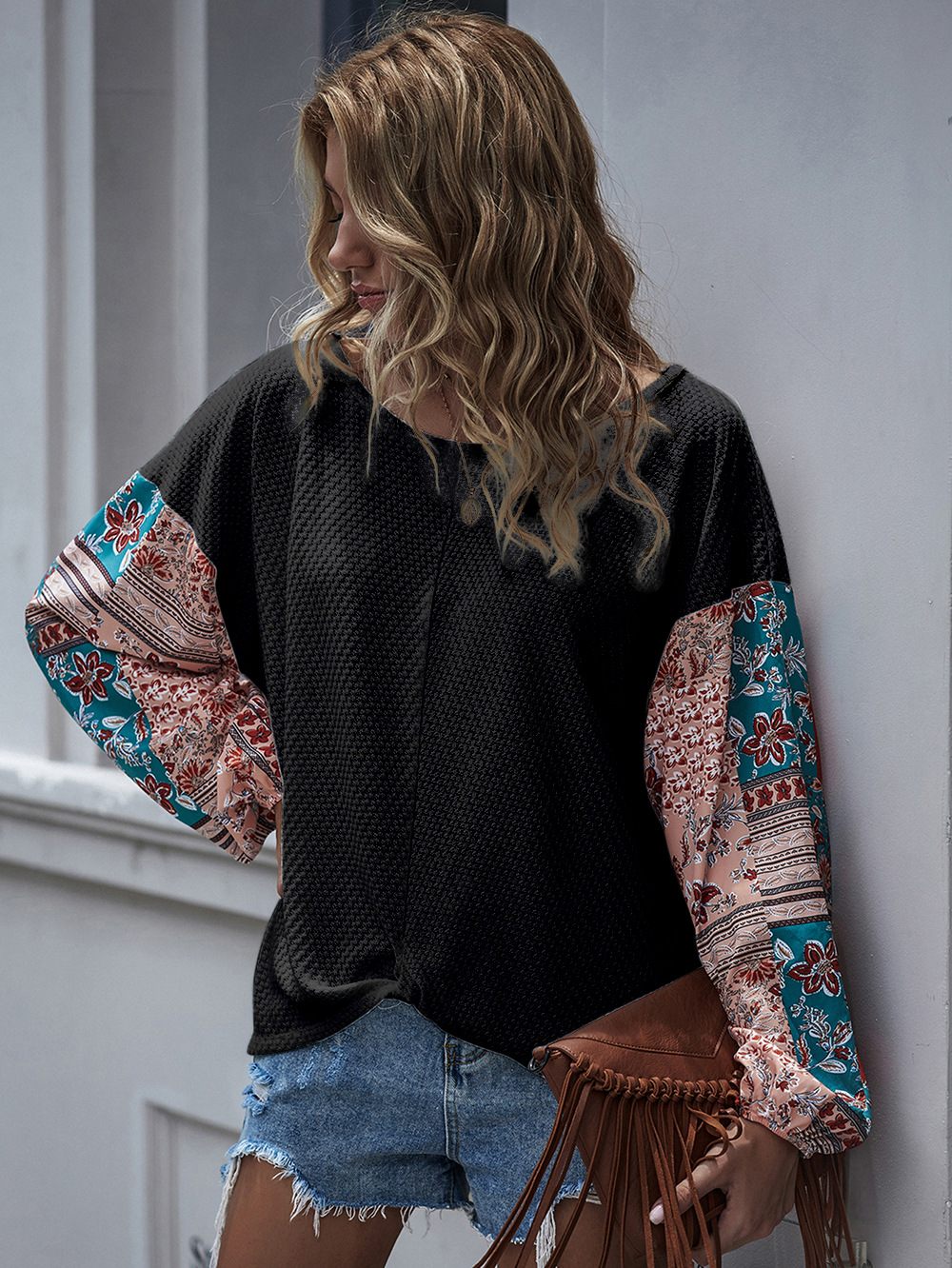 printed stitching long-sleeved bohemian casual T-shirt top NSDF2602