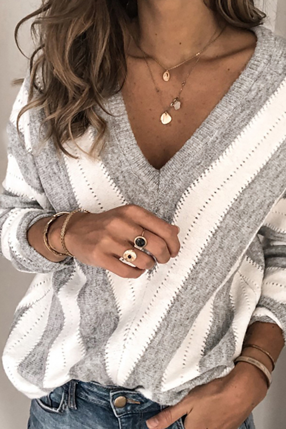 striped contrast long-sleeved deep v-neck knitted sweater  NSSI2339