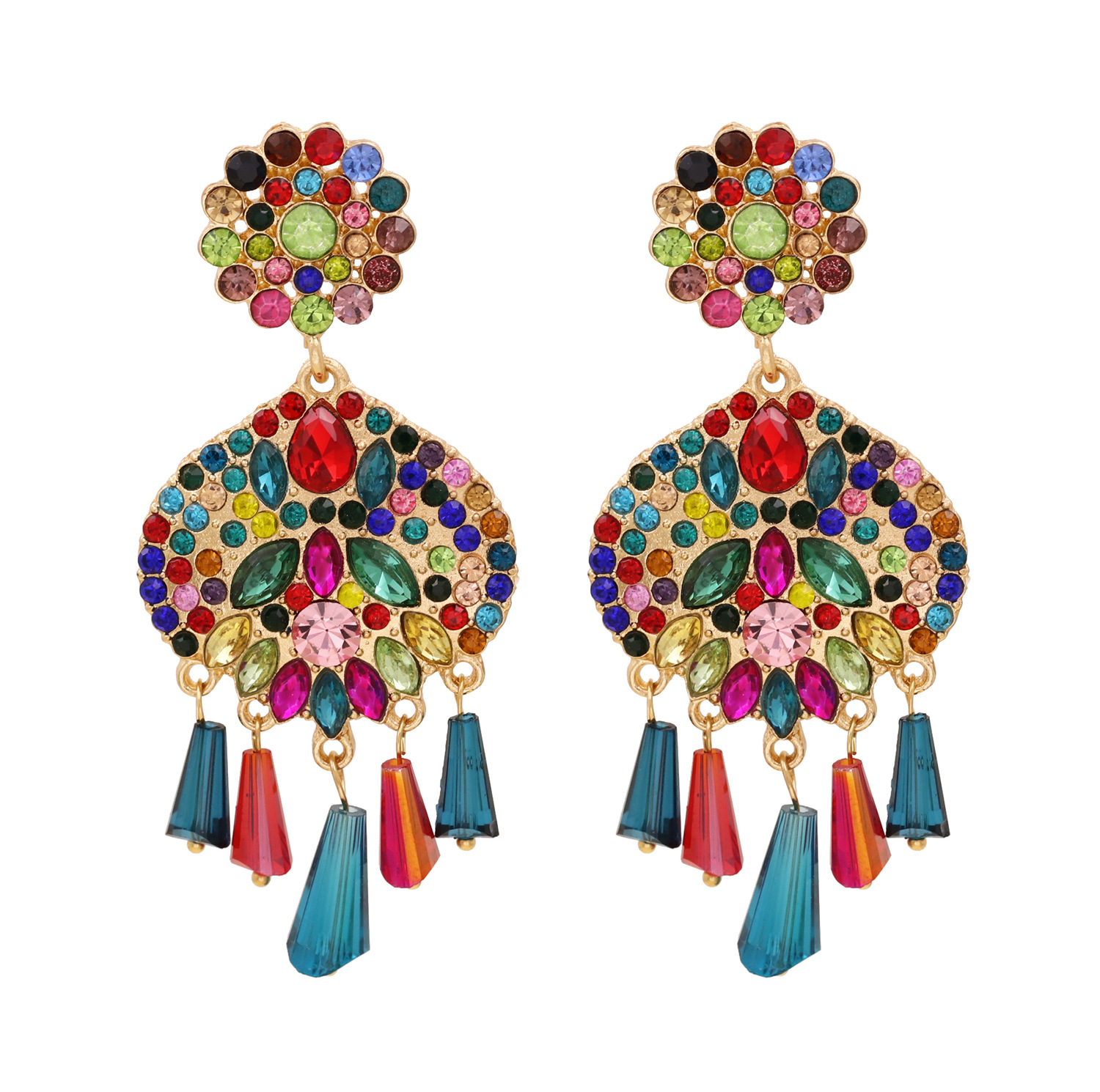 fashion new  exaggerated full diamond tassel earrings  national style personality pearl inlaid earrings nihaojewelry wholesale NHUI221134