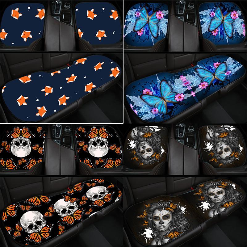 汽车坐垫四季通用毛绒三件套单片座垫紫色飞蝴蝶图案装饰你的汽车