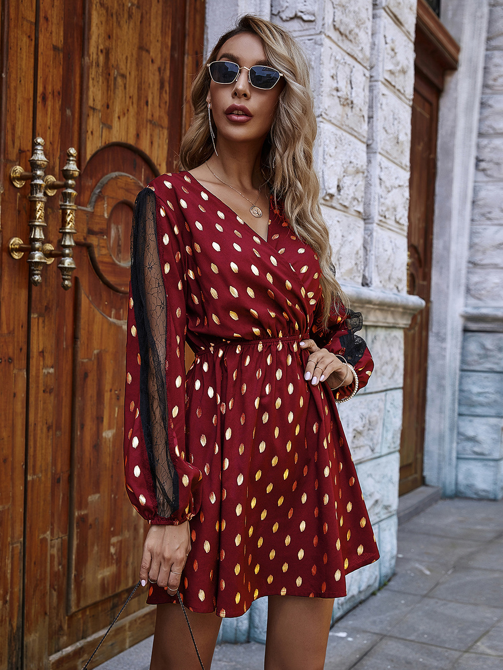 Lace sleeves patchwork black bottom bronzing print autumn and winter dress wholesale NHDF43