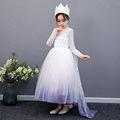 儿童裙子秋季新款女童礼服万圣节长裙冰雪奇缘艾莎公主裙一件代发