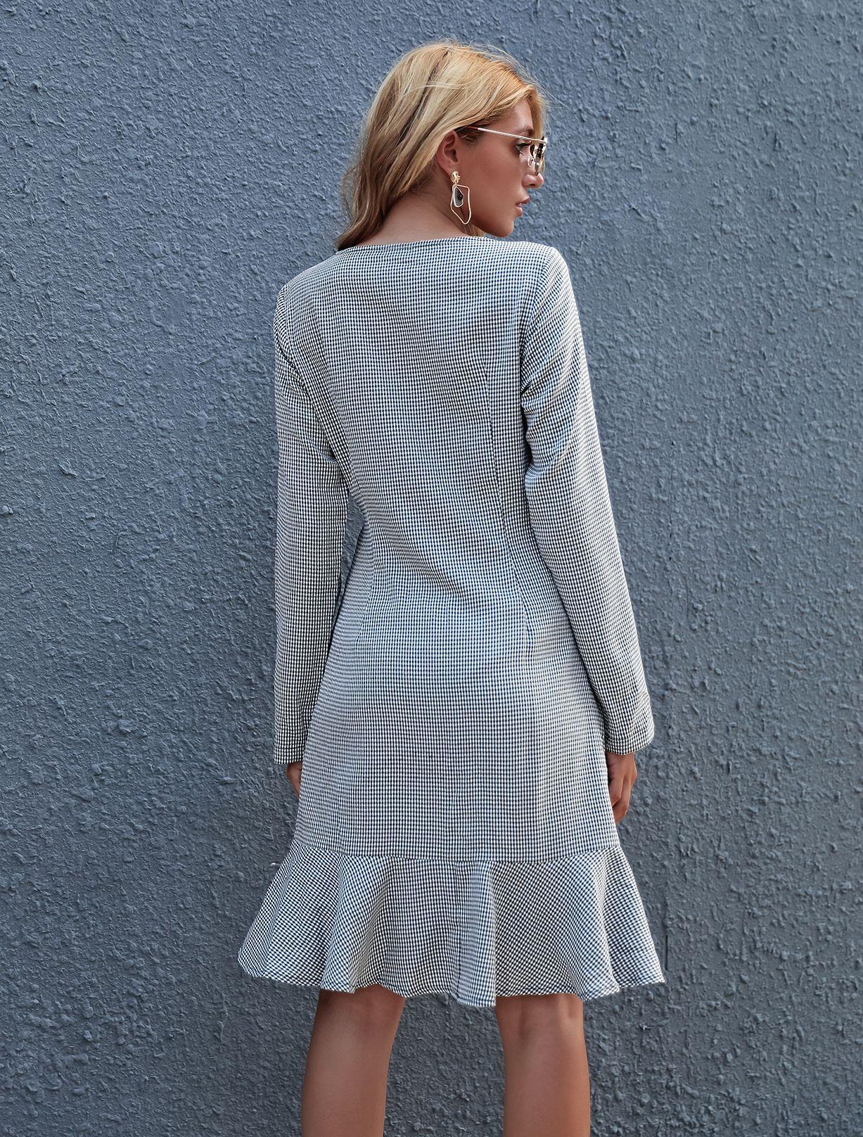 Checked Slim Long dress NSAL1914