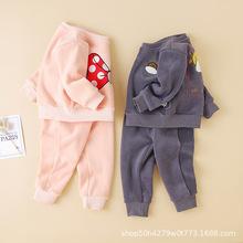 童裝小童寶寶加厚雙面絨兩件套小寶寶秋冬季加絨運動套男女套裝