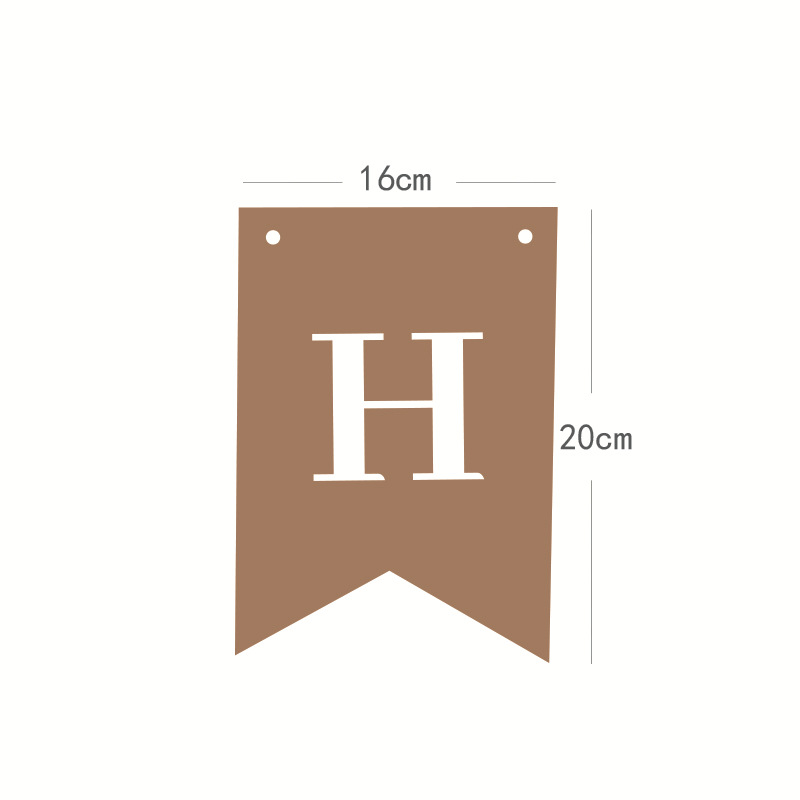 New birthday party decoration layout supplies kraft paper letters happy birthday fish tail pull flag NHAH247468