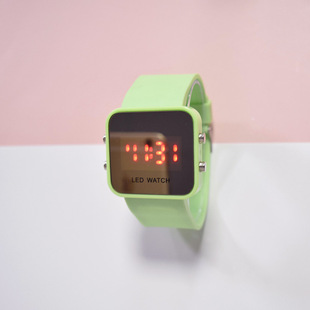Spot new LED mirror watch square student electronic watch fashion cool multi-color couple junior high school student watch