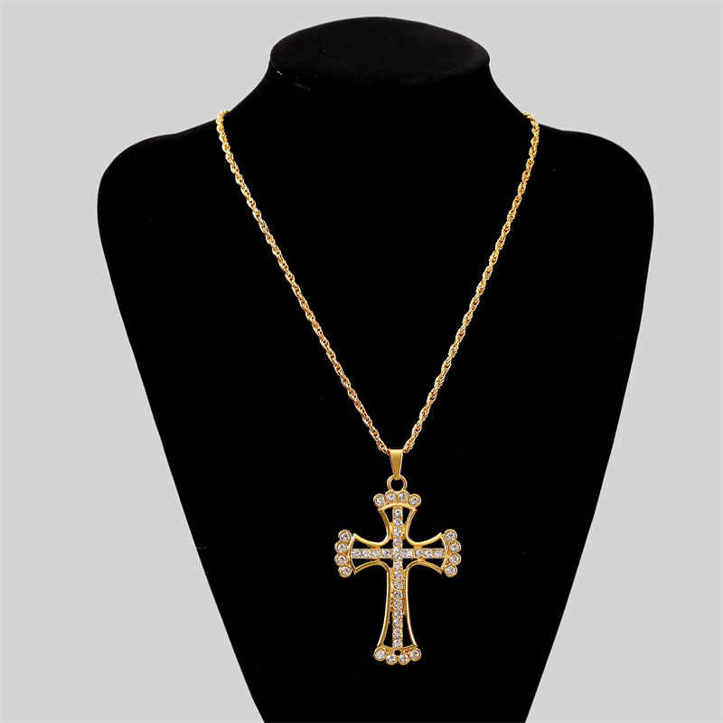 exaggerated long section cross hiphop necklace creative fashion pendant jewelry wholesale nihaojewelry NHLA229155