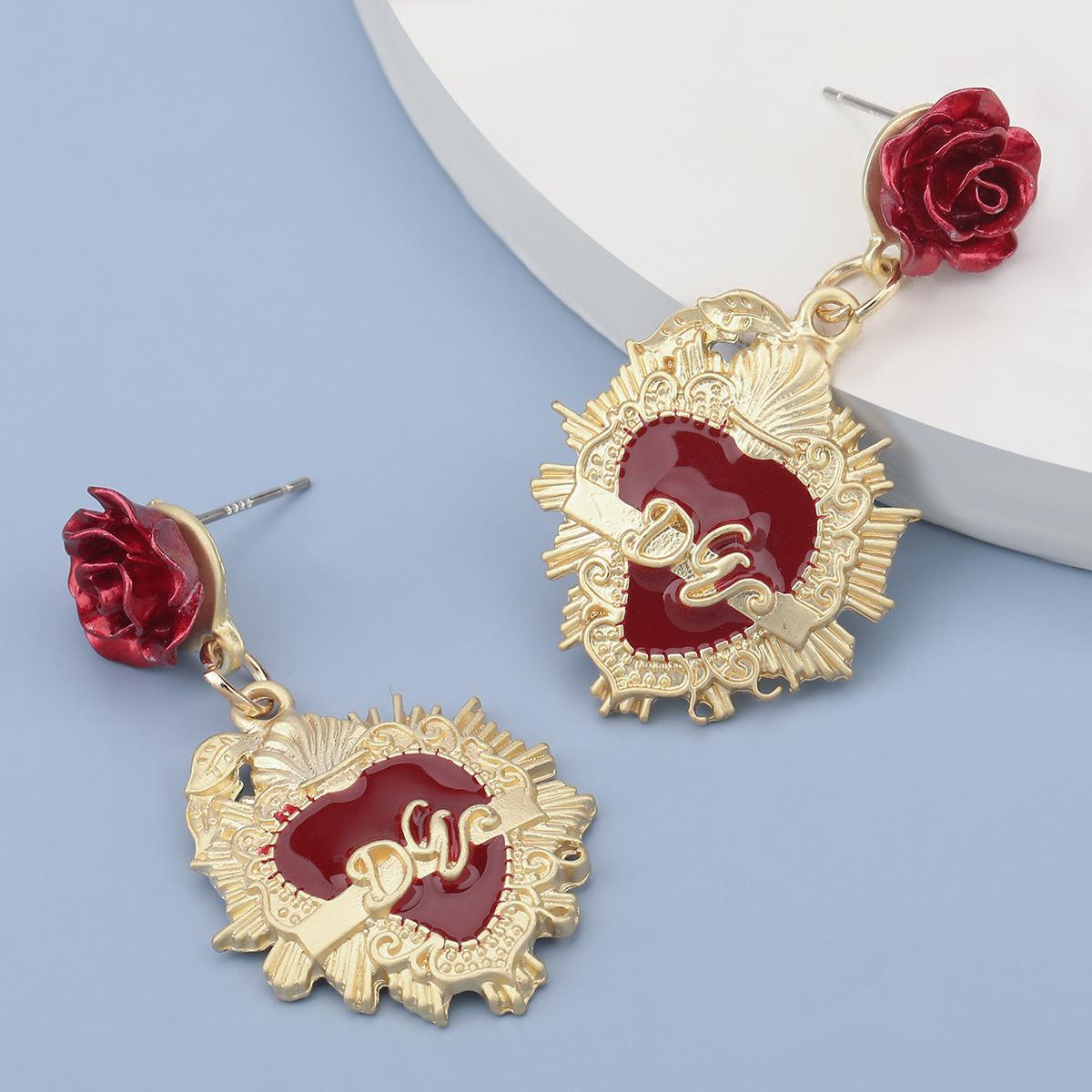 alloy red rose retro earrings  NHJE283098