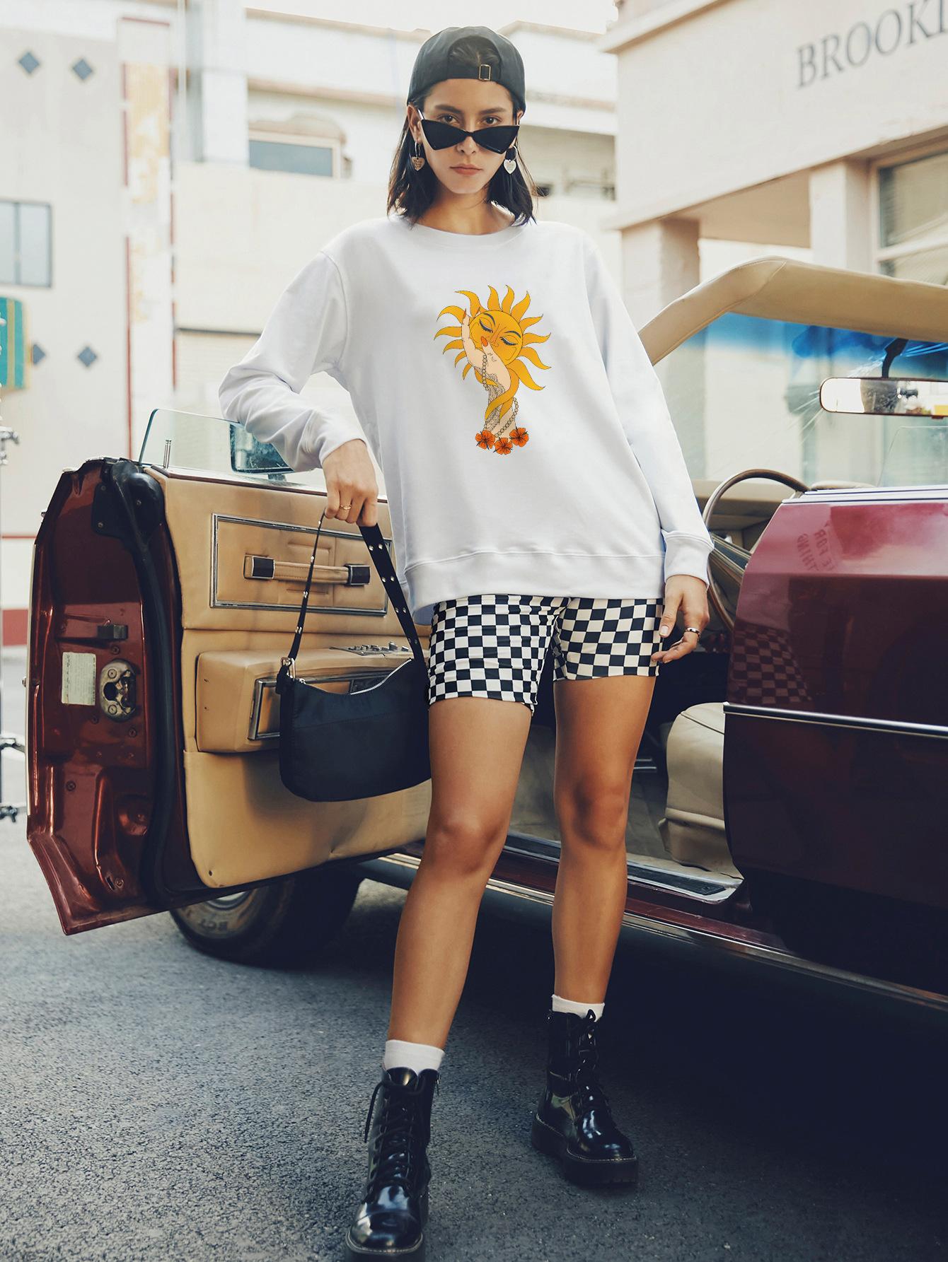 women's round neck long sleeve street casual hoodies for women NSSN1744