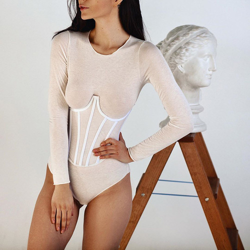Women with breast support and waistband Fashionable Slim-fit Breast Show Knitted Inside and Outside with Sexy Wrapped Chest