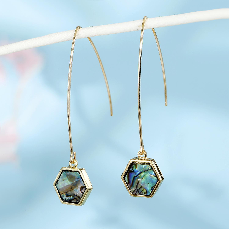 New fashion round imitation abalone shell drop earrings wholesale NHGO210868