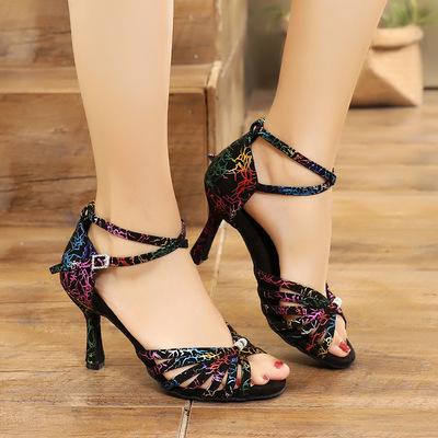 Women Latin dance shoes soft sole indoor high heel dance shoes female adult national standard Cha Cha dance shoes