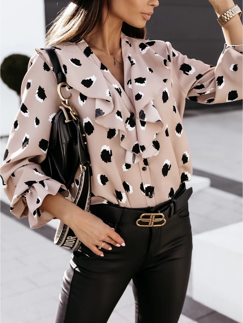 hot sale autumn and winter V-neck ruffle button long-sleeved printed shirt top  NSYD3713
