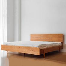 北欧樱桃木床 现代简约黑胡桃木双人床 日式环保卧室家具纯实木床