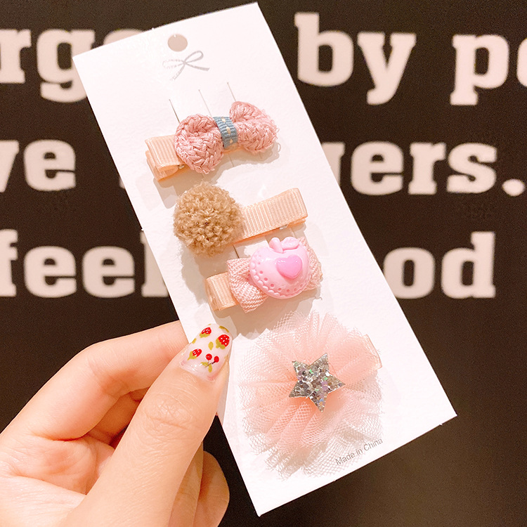 Childrens hairpin safety small clip hair accessories baby cloth hair clips girl little girl hairpin  cute headdress NHSA216168