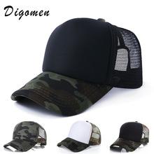 现货定做军训迷彩帽子印刷LOGO遮阳帽定制 光板网帽货车帽广告帽