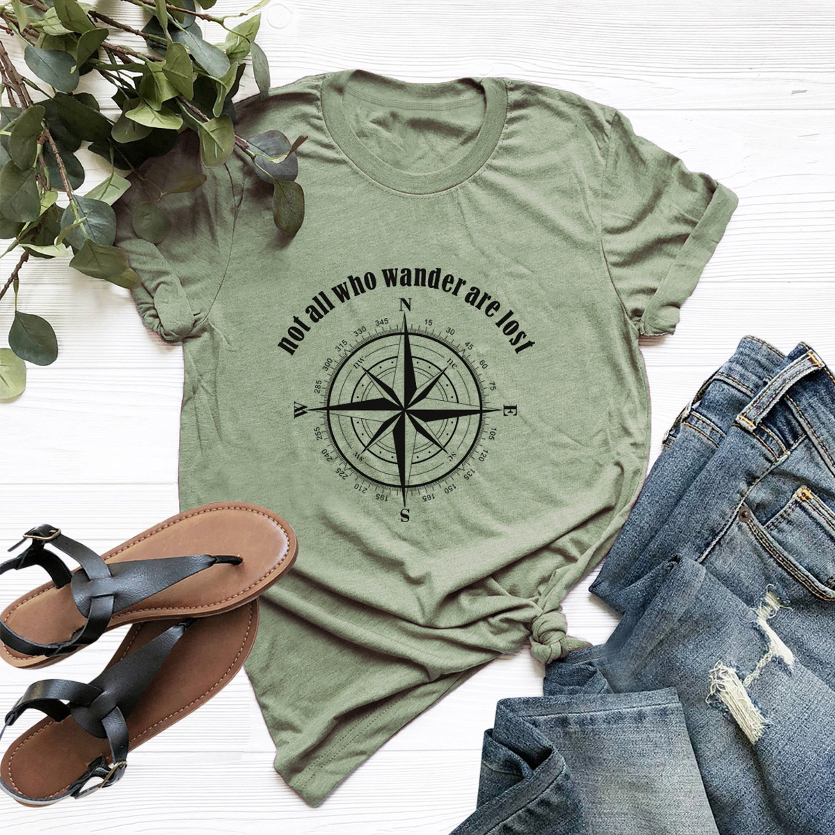 casual letters printed short-sleeved women's T-shirt NSSN1782