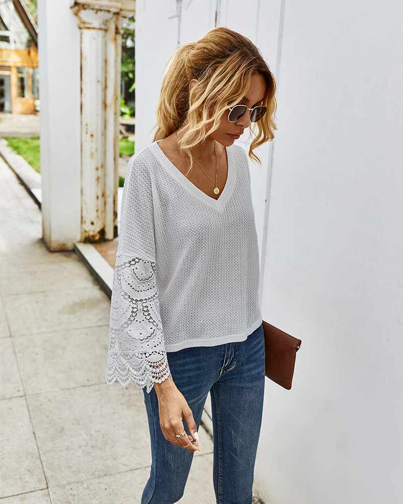 autumn stitching lace long-sleeved T-shirt wholesale NSKA292