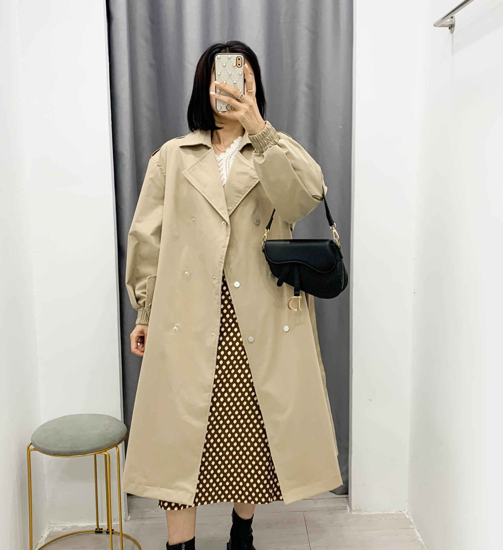 temperament single-breasted lace-up long coat   NSAM2283