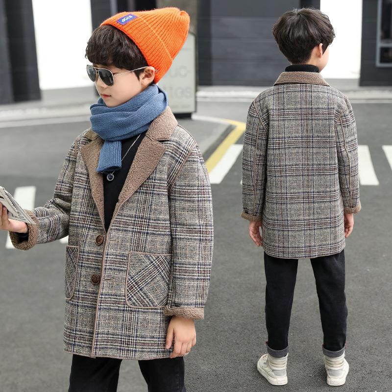 男童秋冬毛呢外套2020韩版新款洋气大童加绒加厚中长款格子呢大衣