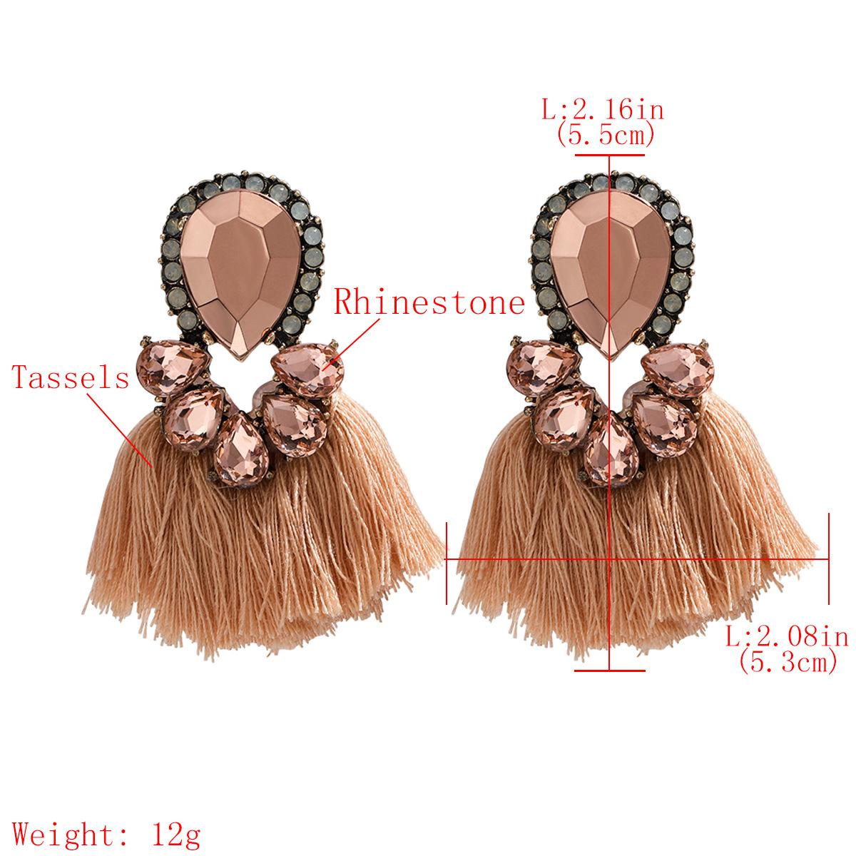 Exaggerated style multi-layer drop-shaped rhinestone diamond tassel earrings retro ethnic wind earrings wholesale nihaojewelry NHJE218087