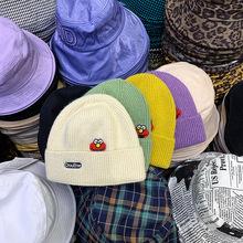 韩版秋冬新款zhimajie个性头像搞怪贴标装饰保暖毛线帽针织帽卷边