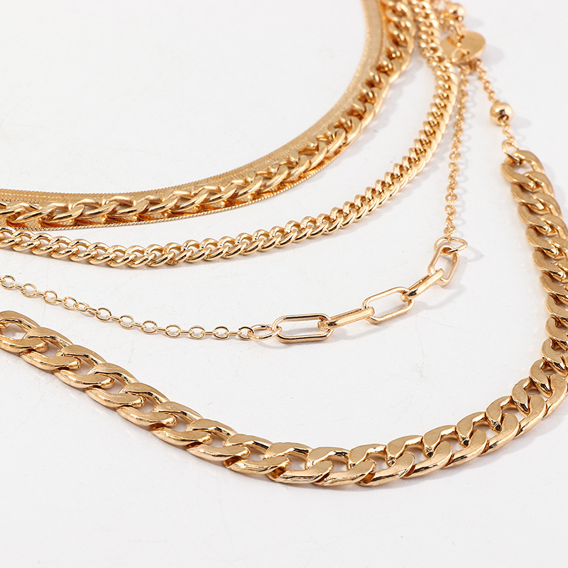 Jewelry punk style metal thick chain necklace wild popular multilayer snake chain NHNZ201882