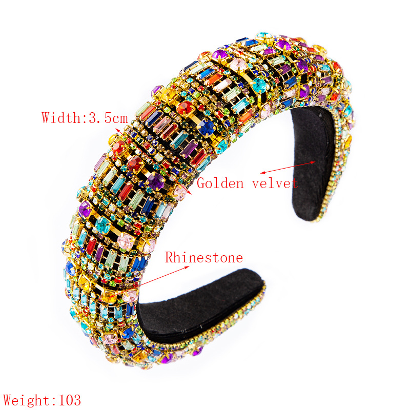 baroque style sponge rhinestone headband party hair accessories wholesale nihaojewelry NHLN240220