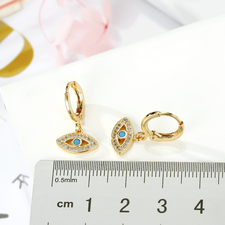 Gold Devil's Eye Earrings Turkish Zircon Earrings Point Diamond Earrings NHGO201042