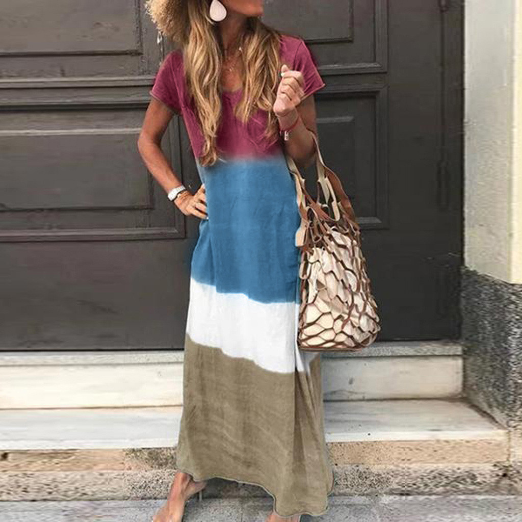 hanging dyeing V-neck simple loose casual dress NSYF2172