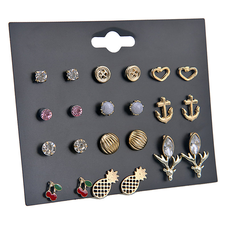 fashion fruit antler 12 pairs alloy simple earrings set for women wholesale NHSD243606
