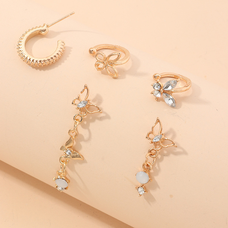 New fashion opal butterfly earrings without pierced ears ear clips wholesale NHNZ209753