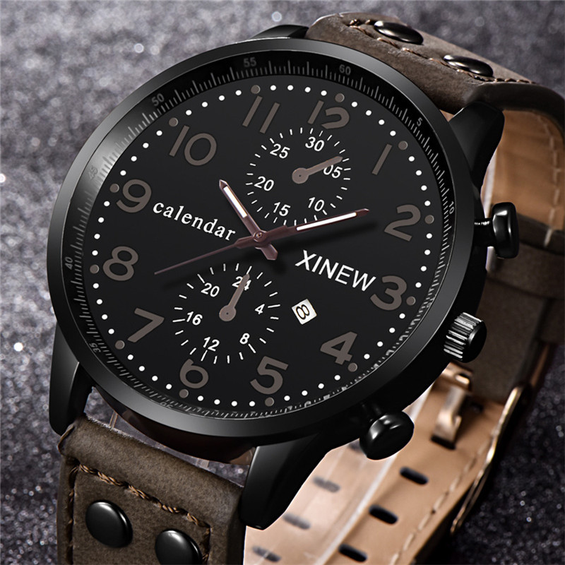 Brand Watches Mens Leather Band Date Spo...
