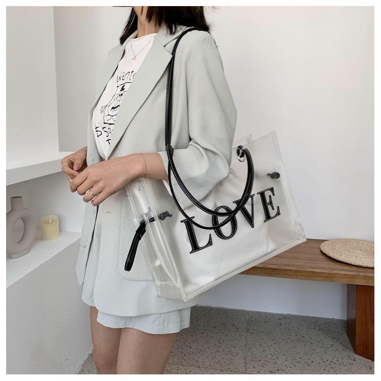 Summer transparent big bag wholesale nihaojewelry new jelly bag large capacity fashion handbag shoulder bag NHGA210212