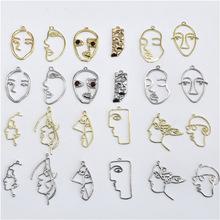 新飾品配件 復古人臉譜抽象表情掛件配飾項鏈耳環吊墜手工DIY制作